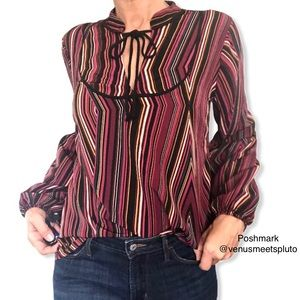 Maurice's Striped Tassel V Neck Balloon Sleeve Top
